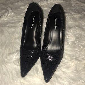Charlotte Russe snakeskin black heels size 8
